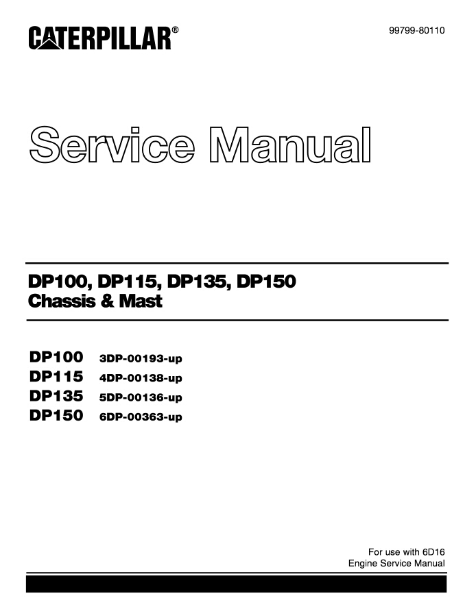 Caterpillar T50dsa forklift maintenance Manual