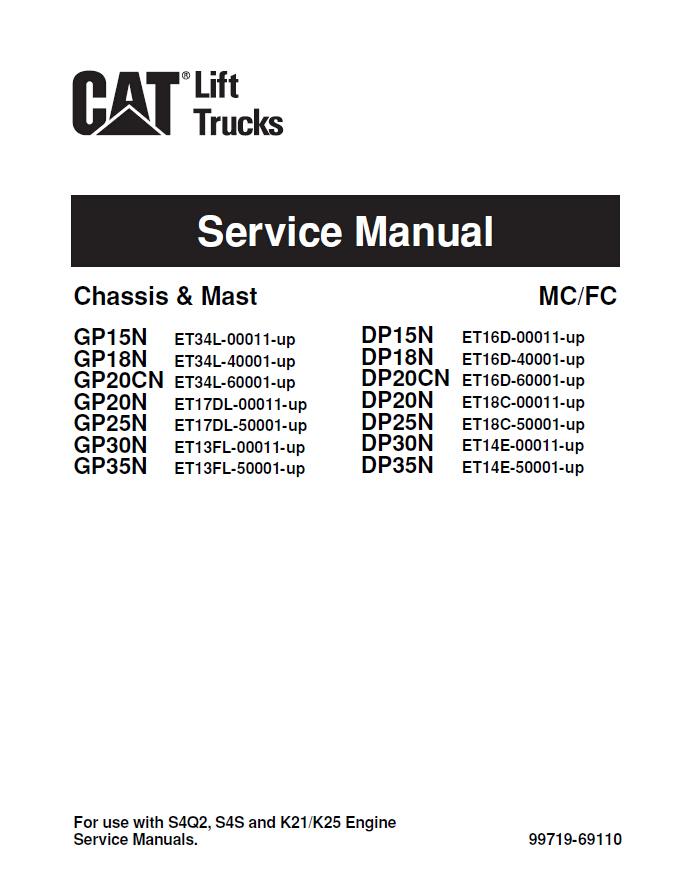 Caterpillar Cat Dp20n Dp25n Dp30n Dp35n Forklift Lift Trucks Service Repair Manual