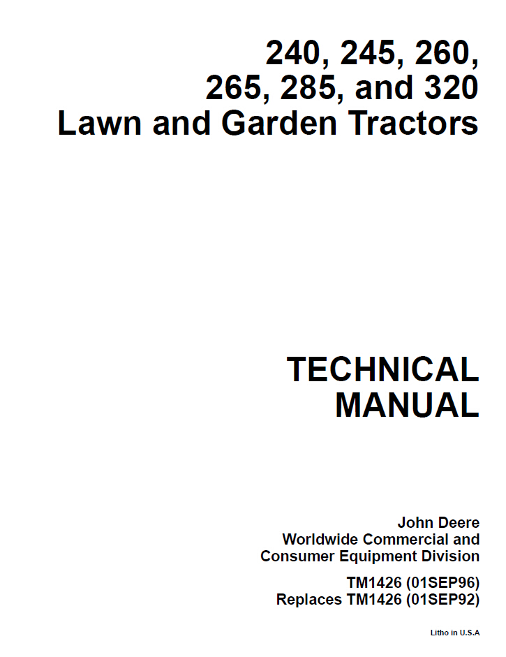 TM1426 1 john deere 240 245 260 265 285 320 lawn and garden tractor service john deere 265 ignition wiring diagram at edmiracle.co