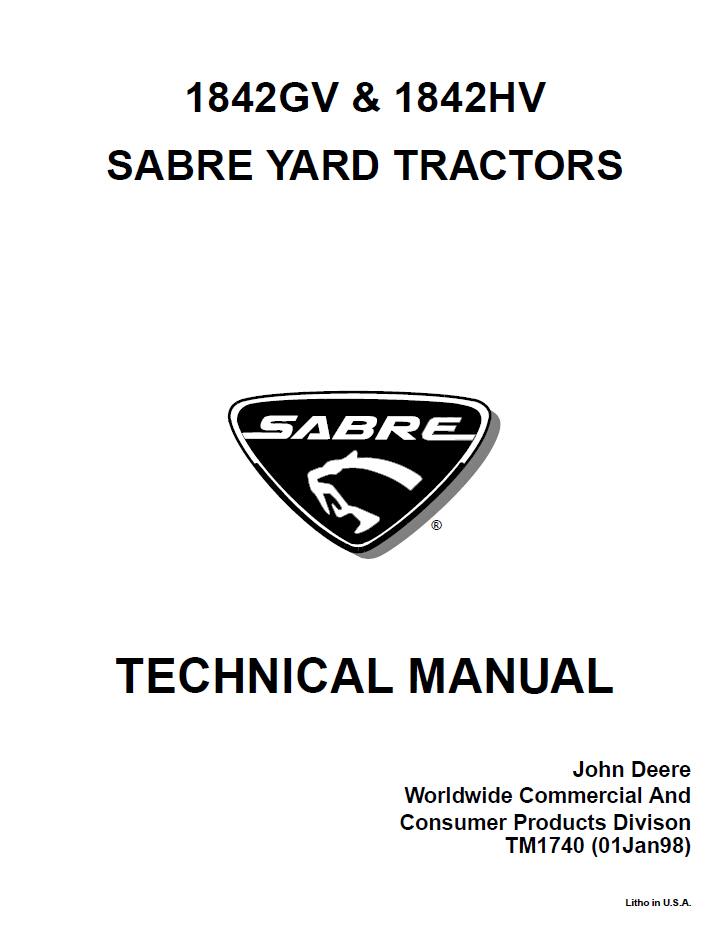 john deere 1842gv 1842hv sabre yard tractor service repair