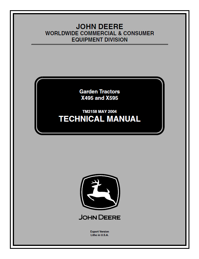 john deere x495 x595 lawn  u0026 garden tractor service repair